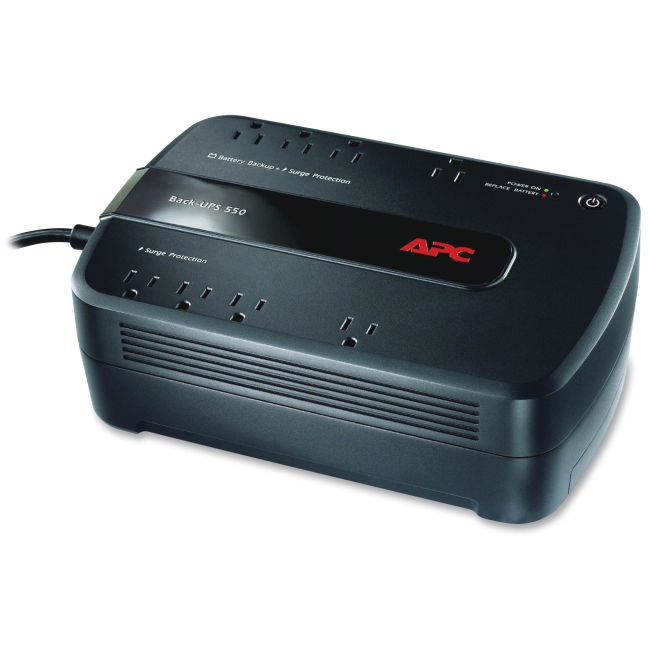 APC Back-UPS 550VA Uninterruptible Power Supply Battery Backup and Surge Protector with 8 Outlets, BE550G