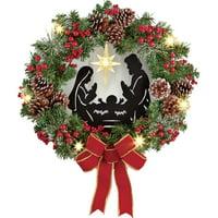 product image lighted nativity scene christmas wreath