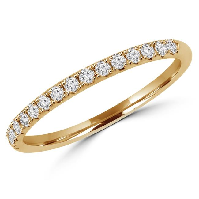Majesty Diamonds MD170312-P 0.2 CTW Round Diamond Semi-Eternity Wedding Band Ring in 14K Yellow Gold