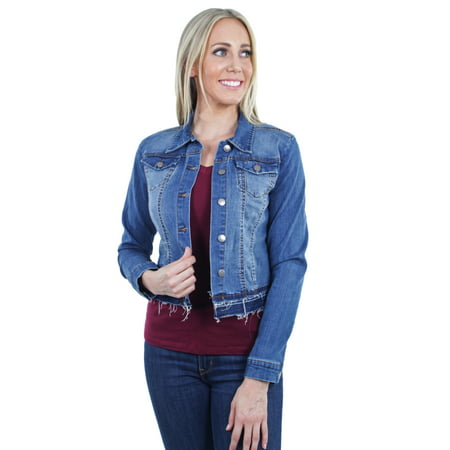 Women's Plus/Junior size Stretch Denim Long Sleeve Double Layered Hem (Double Layer Jacket)