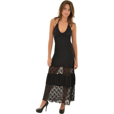 Zucan Womens Long Black Maxi Dress Sexy Sheer Lace Skirt Plunging