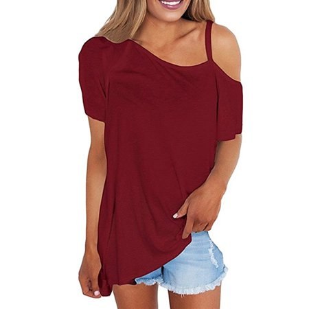 One Shoulder Off Shoulder Women Casual Chiffon Blouse Tops