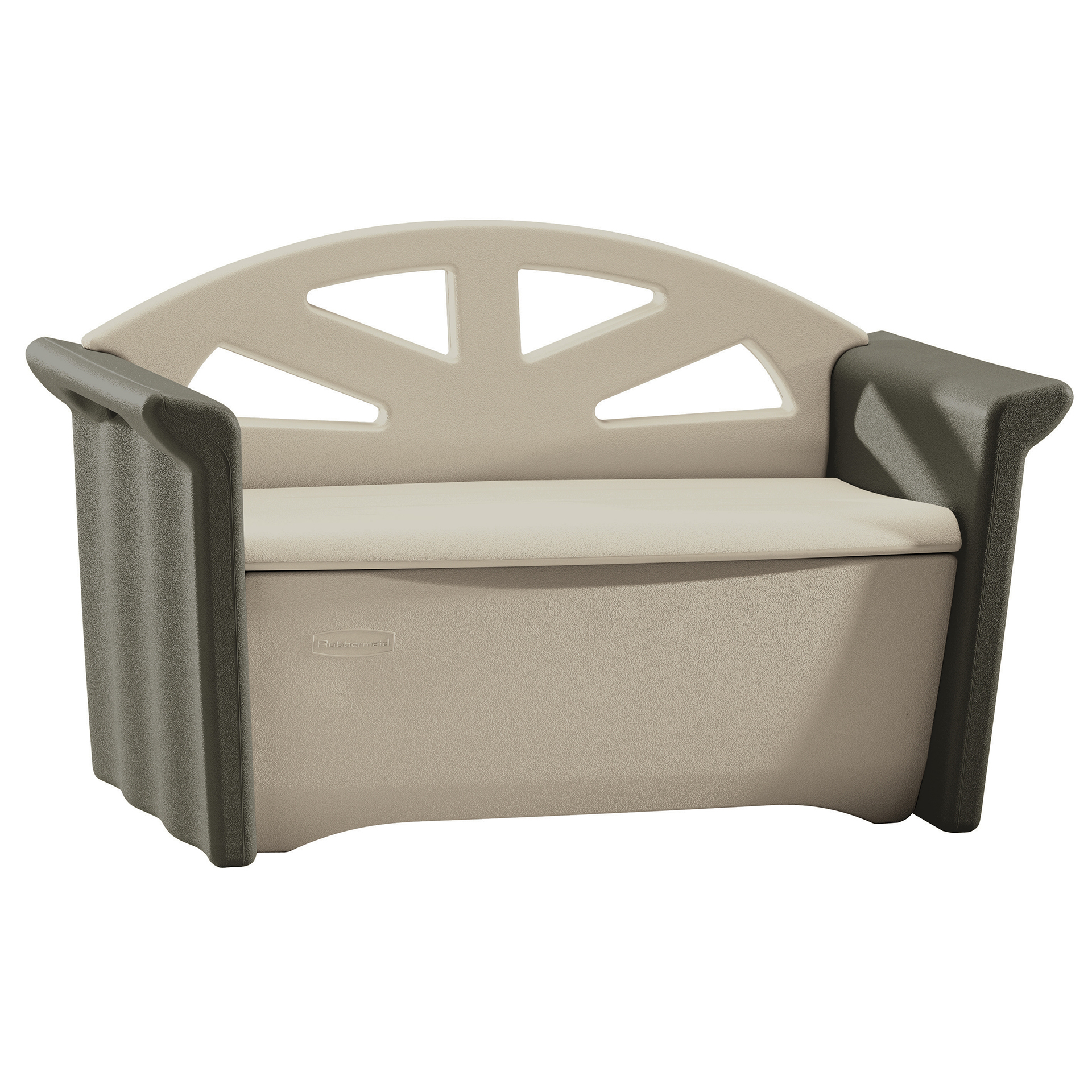 "Rubbermaid FG376401OLVSS 3' H X 4' W X 25"" D Patio Olive & Sandstone Storage Bench"