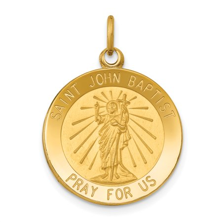 14k Yellow Gold Saint John Baptist Medal Pendant Charm Necklace Religious Patron St The Gifts For Women For Her