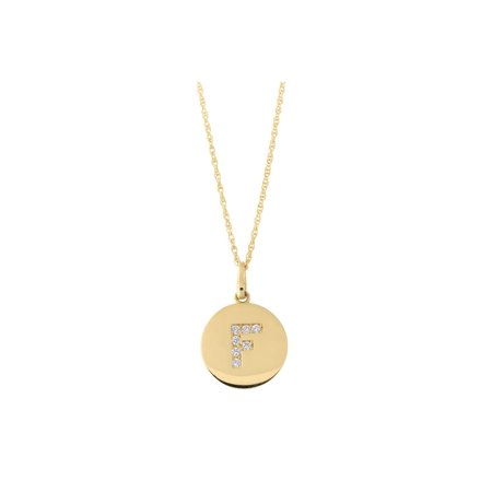 14k Yellow Gold Cubic Zirconia Initial Disc Pendant Necklace, F, 20