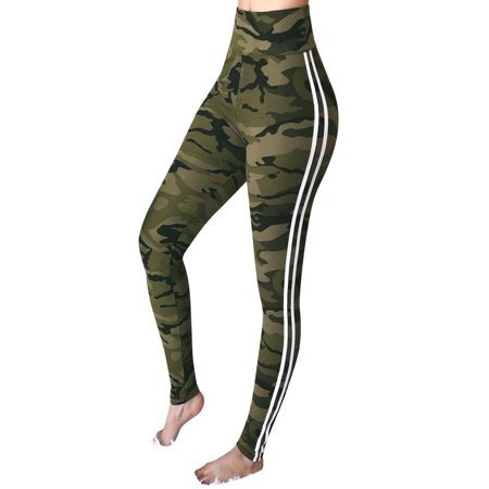 Mosunx Womens Mid Waist Camouflage Striped Trousers Ladies Casual Drawstring Pants