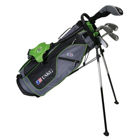 US Kids UL57 Ultralight 5-Club Golf Complete Club Set with Stand Bag, Grey/Green Bag for 57-60
