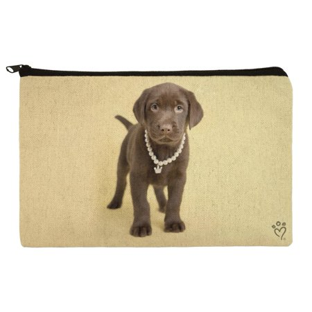 Chocolate Lab Labrador Puppy Dog Crown Necklace Makeup Cosmetic Bag Organizer Pouch - Traditional Clown Makeup