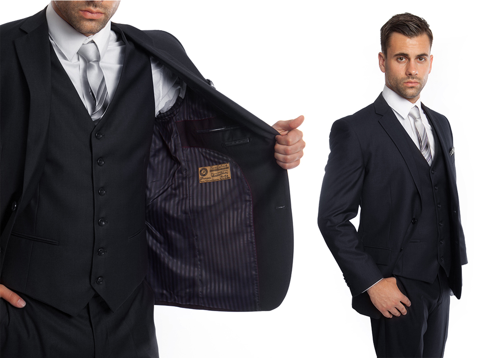 ELEGANT THREE PIECE MEN'S SOLID SUIT