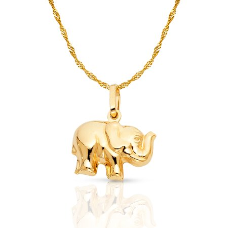 14K Yellow Gold Elephant Strength & Luck Charm Pendant with 0.9mm Singapore Chain Necklace