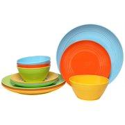 Melange 18-Piece Melamine Dinnerware Set (Solids Collection) | Shatter-Proof and Chip-Resistant Melamine Plates and Bowls | Color: Multicolor | Dinner Plate, Salad Plate & Soup Bowl (6 Each)