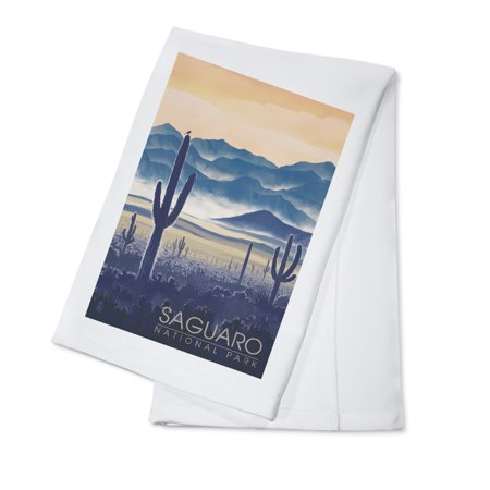 Saguaro National Park, Arizona - Desert Mountain Range - Lantern Press Artwork (100% Cotton Kitchen Towel) - Desert Mountain Park Halloween