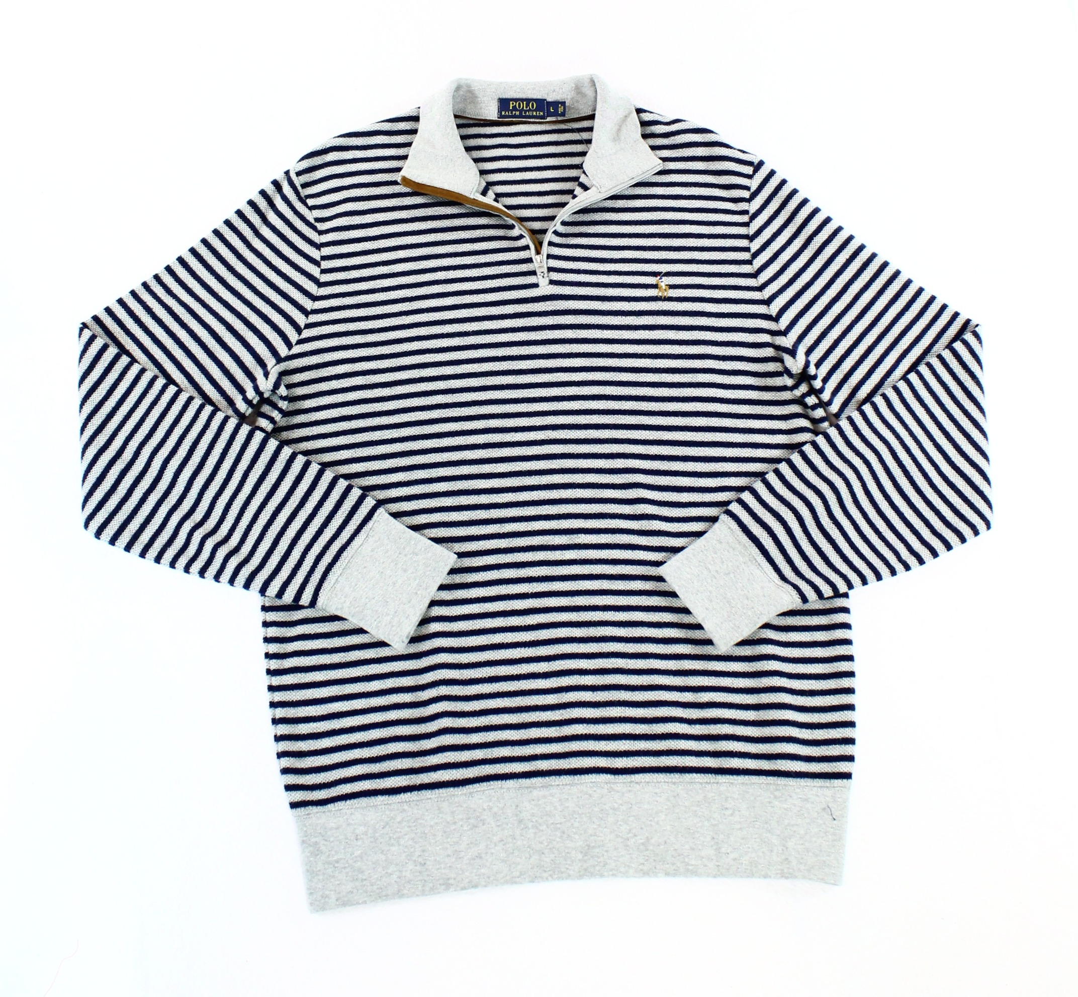 Polo Ralph Lauren NEW Gray Blue Mens Size Large L Stripe 1/2 Zip Sweater $165