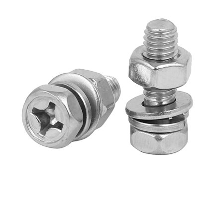 M6 x 18mm 304 Stainless Steel Phillips Hex Head Bolts Nuts w Washers 8 Sets - image 1 of 2