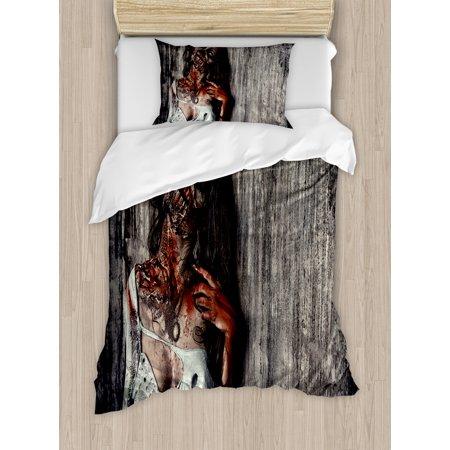 zombie decor twin size duvet cover set angry dead woman sacrifice fantasy mystic night halloween
