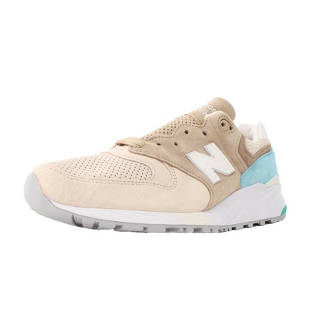 NEW BALANCE 999 SZ 8.5 MADE IN USA PREMIUM SUEDE TAN BEIGE LIGHT BLUE