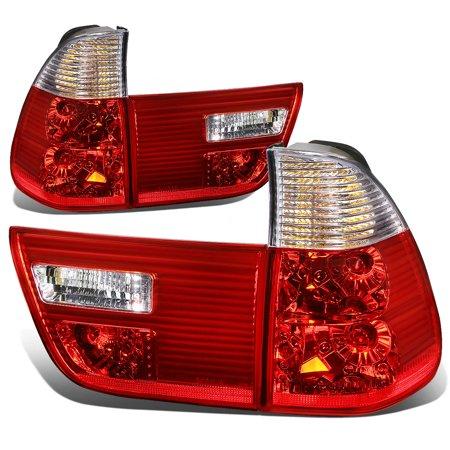 02 Corner Signal Light - For 00-06 BMW E53 X5 Pair of Chrome Housing Red Rear Tail Brake+Corner Signal Light 01 02 03 04 05