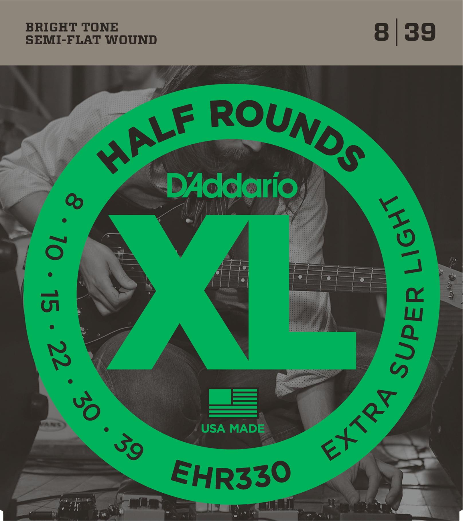D'Addario EHR330 Half Round Electric Guitar Strings, Extra-Super Light, 8-39 by D'Addario