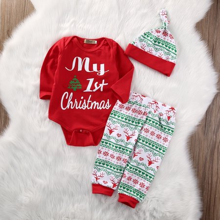 New Fashion Baby Christmas Clothing Set Toddler Baby Snowflake Deer Romper Tops Leggings Casual Hat Winter Clothes - Baby Christmas Apparel