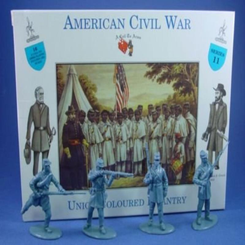 American Civil War Colored Black Infantry 16 Unpainted Plastic Figures in 4 Poses 1/32 Scale A Call to Arms Compatible with Airfix Armies in Plastic Marx Type