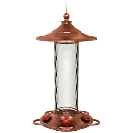More Birds Hummingbird Feeder with 5 Feeding Stations, 14-Ounce Nectar Capacity, Brushed Copper, Glass Bottle, Glory