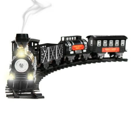 Holiday Toy Train Set w/ Lights, Sound, and Real Smoke - Black - Train Whistle Sounds