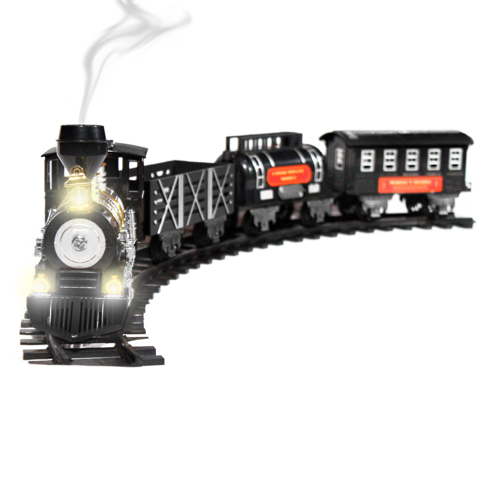 1:48 Large Scale Deluxe Train Set Lights, Sounds, and Real Smoke (Black) by KidFun Products