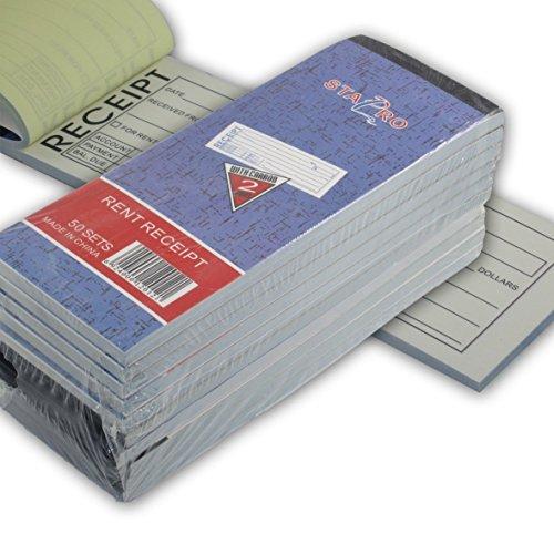 "10 Pack: Rent Receipt Book Carbonless Copy Duplicate 2 parts 50 Sets 8"" X 2.75"" by"