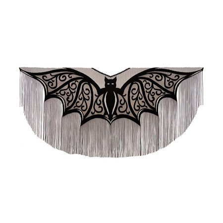 Heritage Lace Bats! Fringe Fine-Gauge Lace Poncho 57