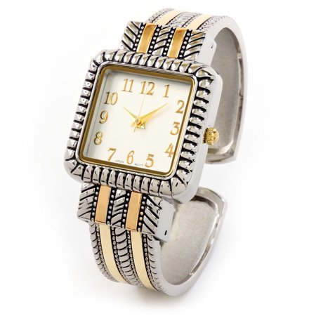 2Tone Western Style Decorated Square Face Women's Bangle Cuff Watch ()