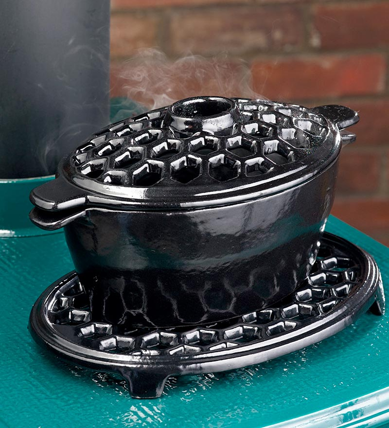 1.5 QT. Cast Iron Lattice Steamer & Trivet Set, in Red by Plow & Hearth