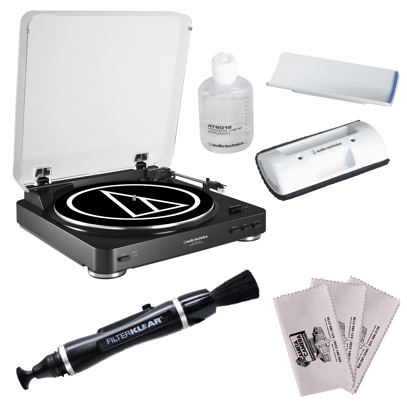 Audio-Technica AT-LP60-BT Bluetooth Automatic Belt-Drive Stereo Turntable (Black) with Record Care + Cleaning Kit