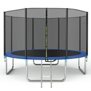 Famistar 14FT Trampoline with Safety Enclosure Net, Spring Pad and Ladder, 330LBS Capacity for 4-5 Kids, Outdoor Exercise Fitness with Waterproof Jumping Mat for Teens and Kids