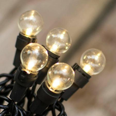 Outdoor String Lights Mini Globe String Lights 10.5 Foot Black Wire 25 LEDs Warm White - Walmart.com