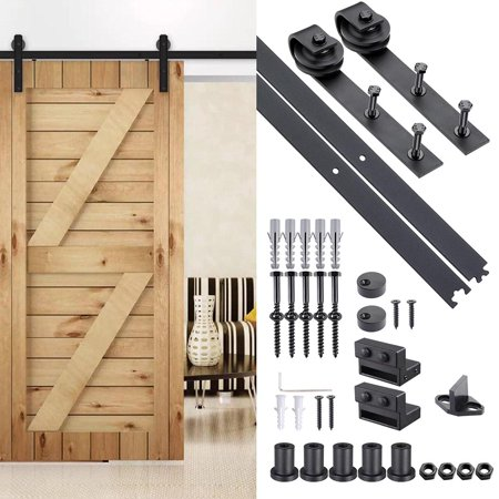 Yescom 6 Ft Carbon Steel Sliding Barn Door Hardware Kit Track Rail