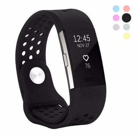 Kutop Fitbit Charge 2 band , Soft Silicone Adjustable Fashion Sport Strap for Fitbit Charge2 Replacement Fitness Accessory Wristband with hole Red
