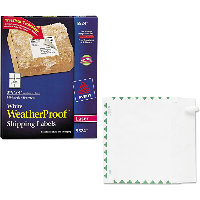 "Avery Weatherproof Laser Shipping Labels, 3-1/3"" x 4"", White, 300-Pack and Quality Park Tyvek Expansion First Class Envelopes Bundle"