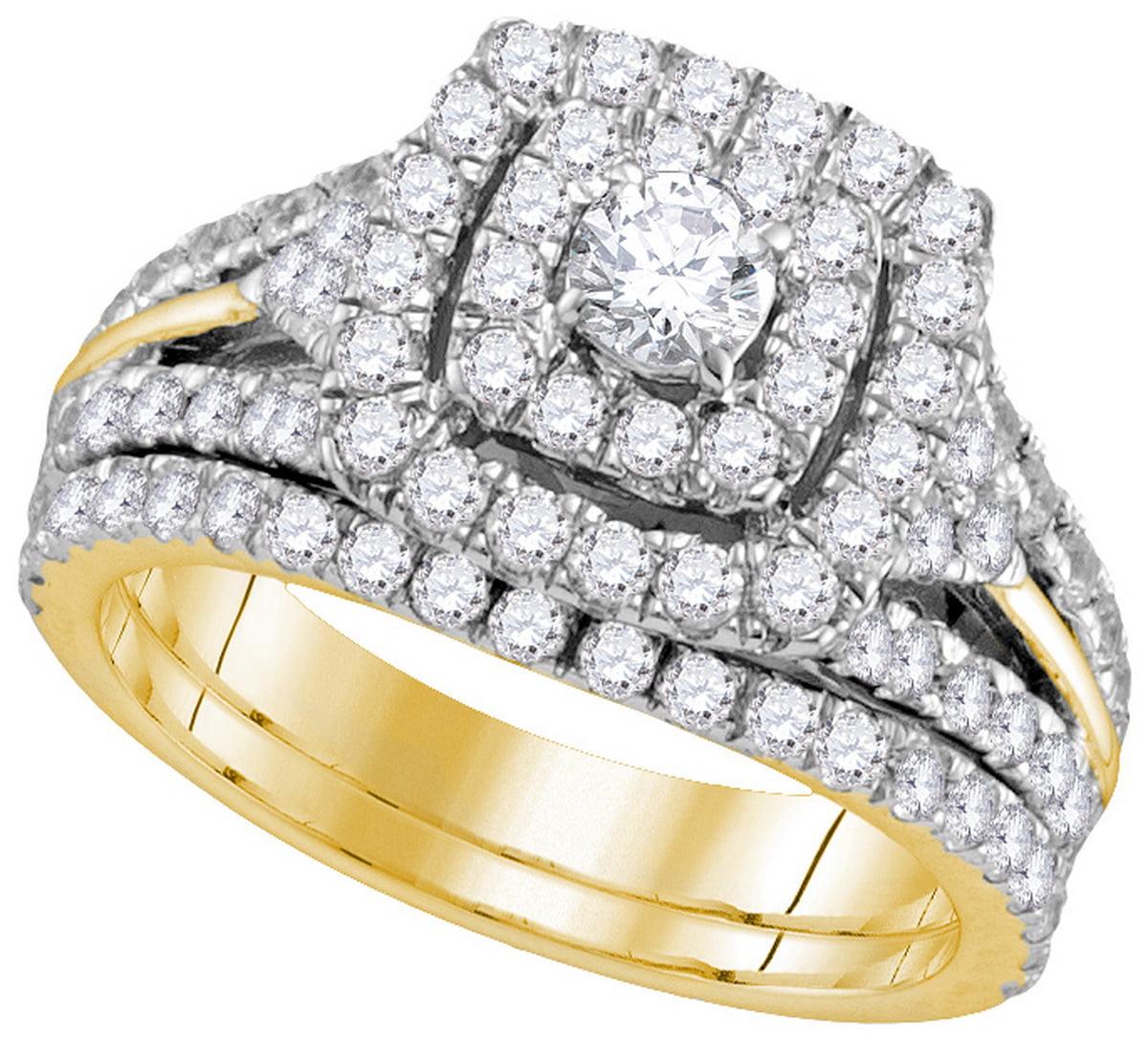 14kt Yellow Gold Womens Natural Diamond EGL Round Bridal Wedding Engagement Ring Band Set (1 &.87 cttw.) size- 10