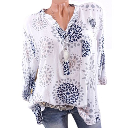 Plus Size Womens V-Neck Floral Printed Shirt Blouse Long Sleeve Loose Button Top - Plus Size Burlesque Clothing