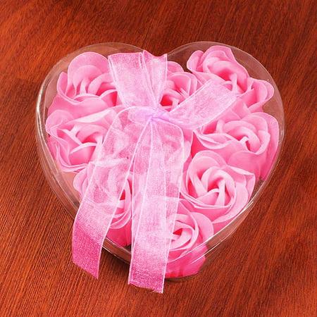 iLH 9Pcs Heart Scented Bath Body Petal Rose Flower Soap Wedding Decoration Gift