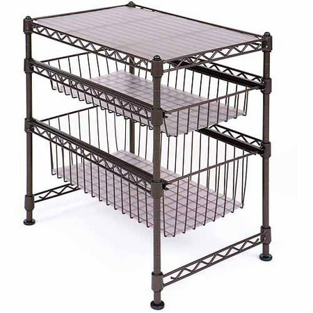 Seville Classics Stackable 3-Tier Sliding Double Basket Cabinet Organizer with Bonus Liners, Satin Bronze ()