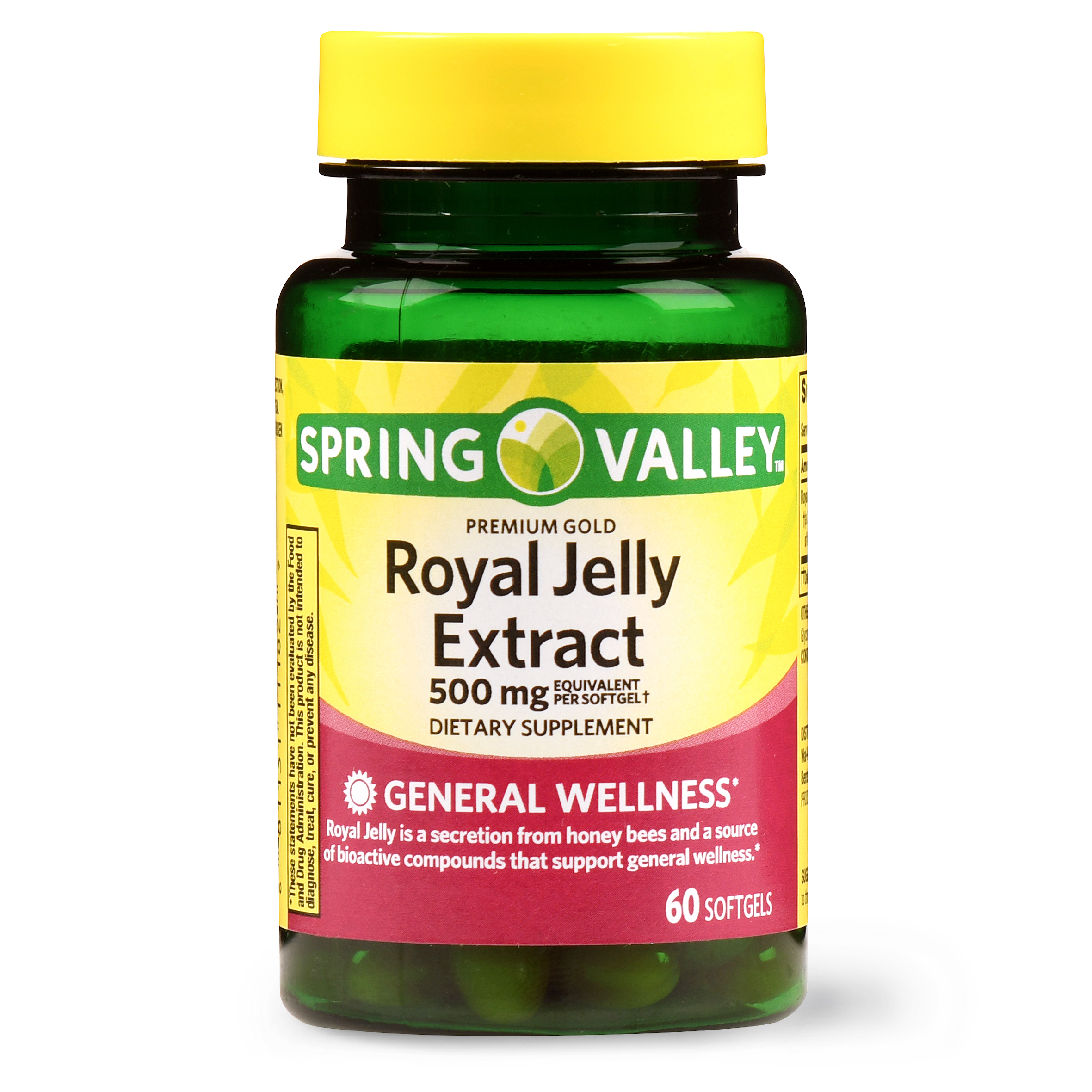 (2 Pack) Spring Valley Premium Gold Royal Jelly Softgels, 500 Mg, 60 Ct