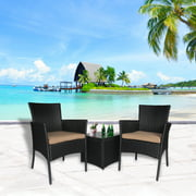 Cloud Mountain Outdoor 3 PC Rattan Bistro Sofa Set Wicker Furniture Set, Black Cushion with Black Rattan