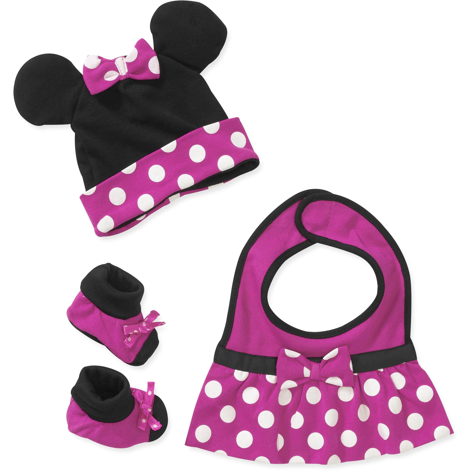 Baby Girls' 3 Piece Minnie Bib, Hat and Sock Set