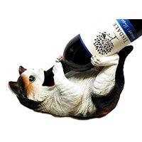 FELINE WHITE KITTY CAT KITCHEN OIL WINE BOTTLE HOLDER FIGURINE STATUE