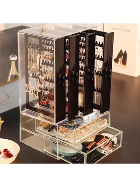 Acrylic Jewelry Hanger Organizer Earring Storage Box with 4 Vertical Drawer & 2 Jewelry Storage Drawer for Ring, Necklace & Bracelet  (176 Grooves & 160 Holes)