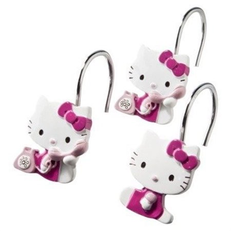 hello kitty on telephone shower curtain hooks. Black Bedroom Furniture Sets. Home Design Ideas