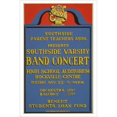Southside Varsity Band Concert Vintage Poster 1938 24X36 High School Music