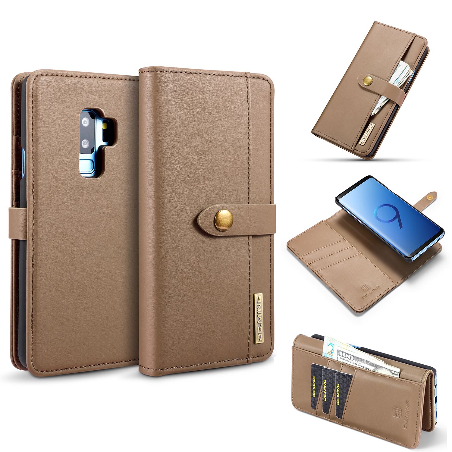 Galaxy S9 Cases and Covers, Allytech PU Leather Magnetic Detachable TPU Cover Folio Flip Stand Multi Function Cards Money Holder Protective Wallet Case Cover for Samsung Galaxy S9, Brown