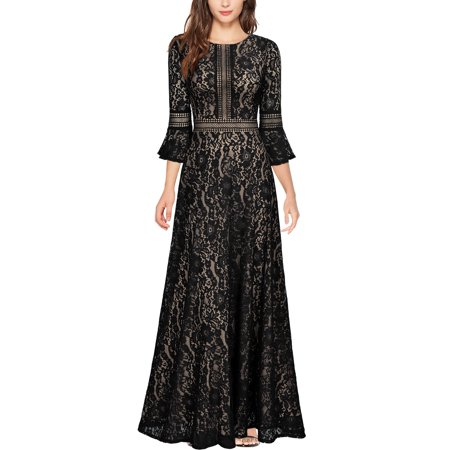 MISSMAY Women's Vintage Cocktail Party Floral Lace Bell Sleeves Long Evening Dress(Black,Size